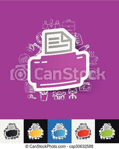 Drucker Aufkleber Hand Papier Gezeichnet Elemente