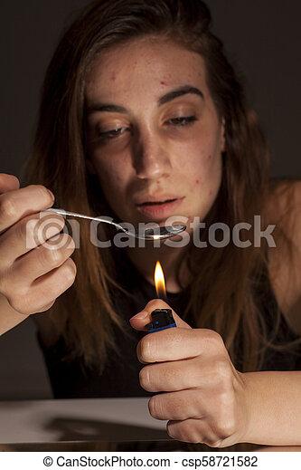 drug-addict woman - csp58721582