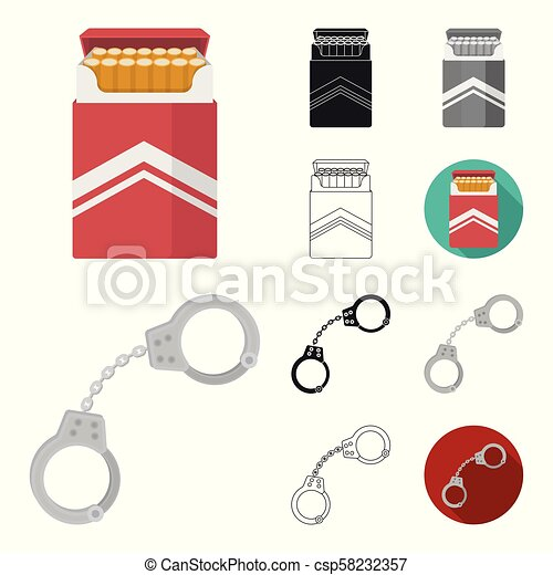 Drug addiction and attributes cartoon, black, flat, monochrome, outline icons in set collection for design. Addict and Drug vector symbol stock web illustration. - csp58232357