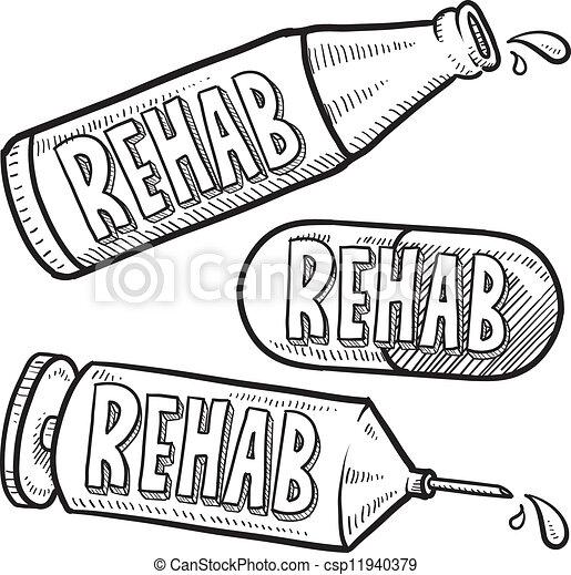 Drug and alcohol rehab sketch. Doodle style bottle, syringe and pharmaceutical sketch ...