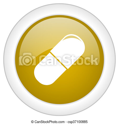 drugs icon, golden round glossy button, web and mobile app design illustration - csp37100885