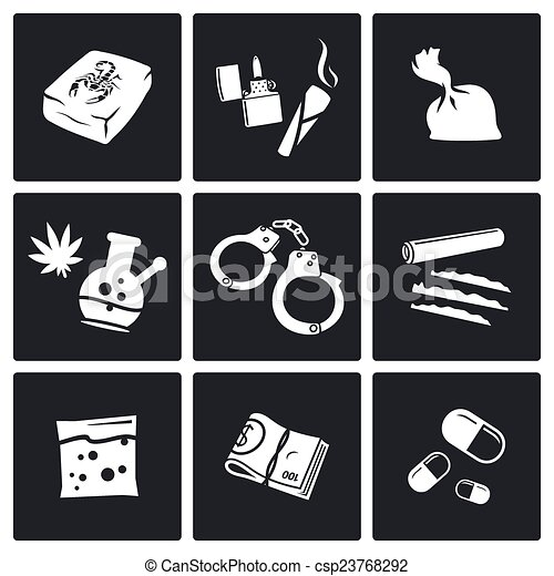 drugs icons set illegal drugs vector icon collection on a black background https www canstockphoto com drugs icons set 23768292 html