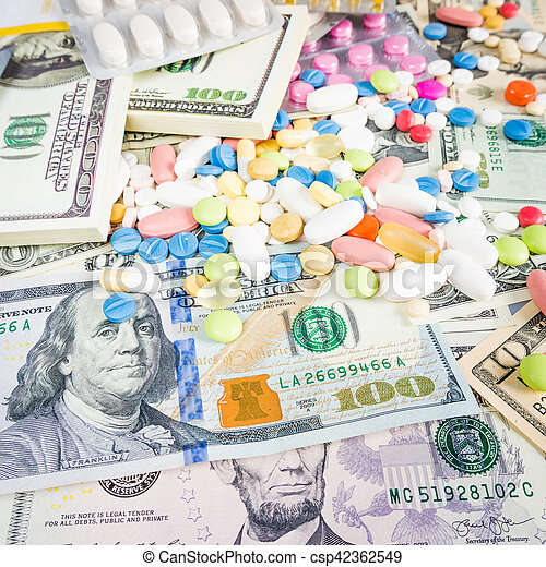 drugs on a money background. Money and pills - csp42362549