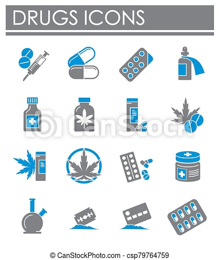Drugs related icons set on background for graphic and web design. Creative illustration concept symbol for web or mobile app. - csp79764759