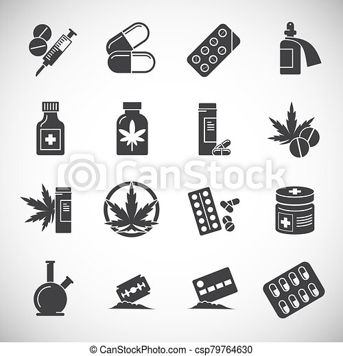 Drugs related icons set on background for graphic and web design. Creative illustration concept symbol for web or mobile app. - csp79764630