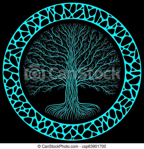 meilleur site web fa8ac 3792b Druidic Yggdrasil tree at night, round silhouette, black and blue logo.  Gothic ancient book style, organic or stone wall frame