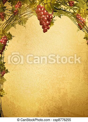 druif, grunge, achtergrond, rood - csp8776255