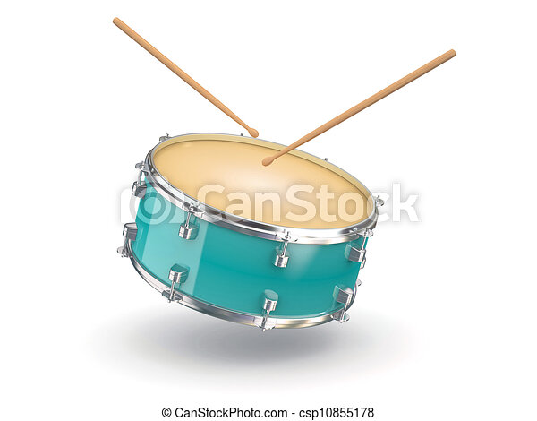 Drum and drumsticks. 3d - csp10855178