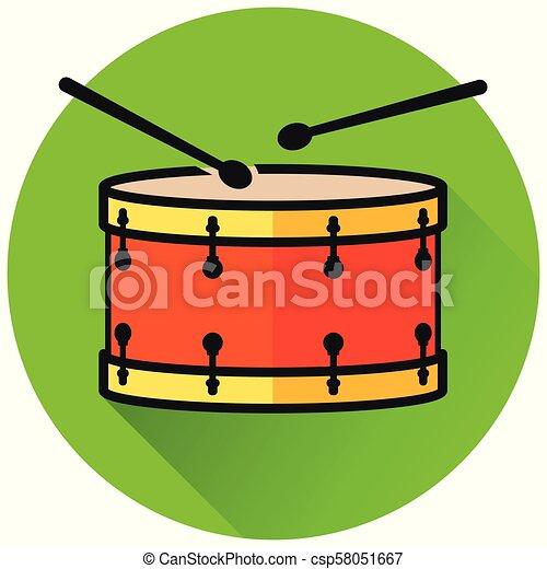 drum circle green flat icon - csp58051667