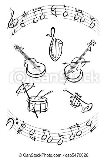 Drum, guitar, trumpet, sax, kontrabas music instruments black - csp5470026