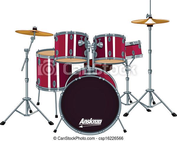 drum kit four piece drum kit rh canstockphoto com drum set clipart black and white Drum Set Clip Art Black and White