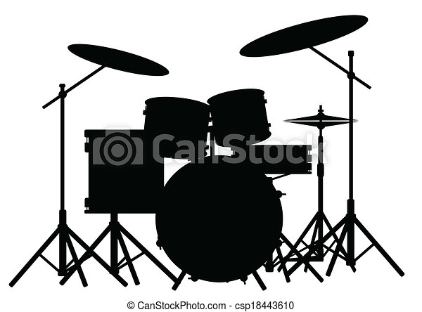 Silhouette Of A Rock Bands Drum Kit Isolated On White Vector Clip
