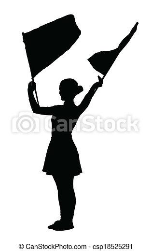 Drum Majorettes Waving Flags Line Girl - csp18525291