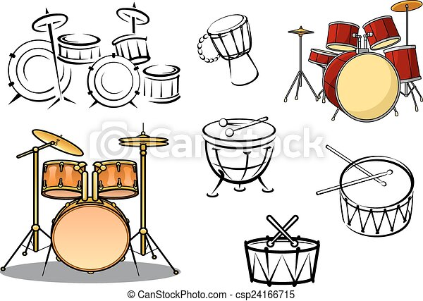 Drum Plants And Percusiion Instruments Vector