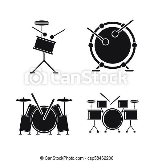 Drum Rock Kit Music Icons Set Simple Style Drum Rock Kit Music