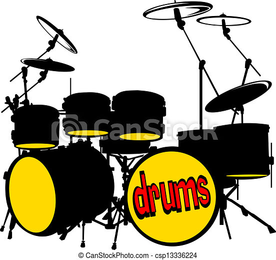 silhouette music drum set vector illustration rh canstockphoto com  drum set pictures clip art