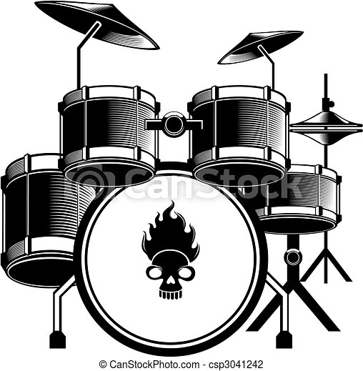 Drum Set A Image Of Black And White Kit Complete Vector