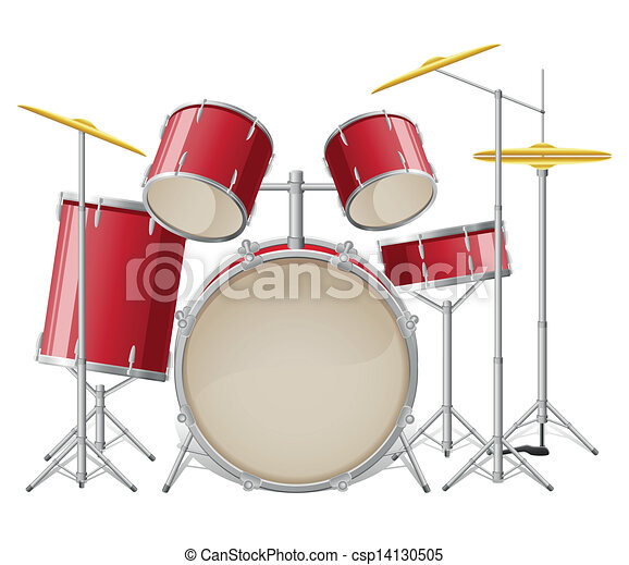 drum set vector illustration isolated on white background rh canstockphoto com drum set clipart silhouette drum set clip art images orange in color
