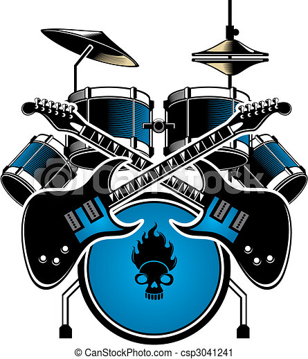 drum with cymbals a image of a blue drum kit complete with cymbals rh canstockphoto com drum set clipart free drum set clipart black and white