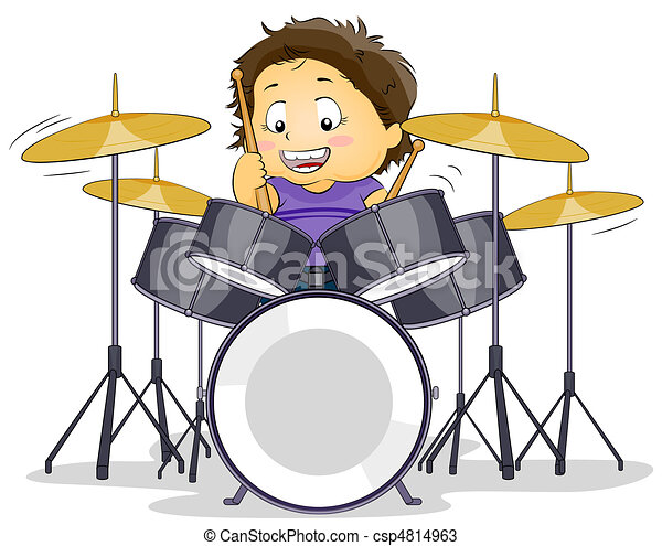 drummer illustration of a kid playing with a drumset rh canstockphoto com clipart drummer boy drummer birthday clipart