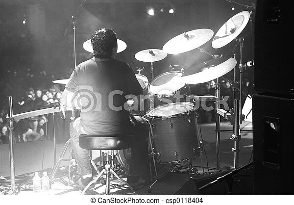 drummer in black and white - csp0118404