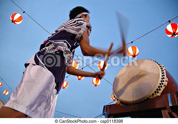 drummer in motion blur - csp0118398