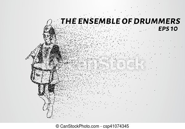 Drummer of the particles. The drummer in a school orchestra. The drummer breaks down into smaller molecules. Vector illustration - csp41074345