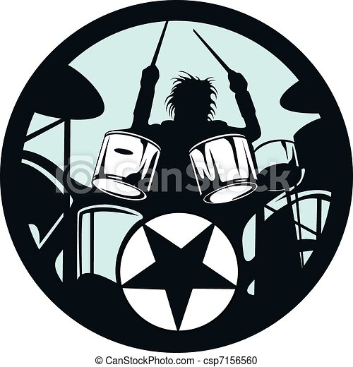 drummer rock star in the circle - csp7156560