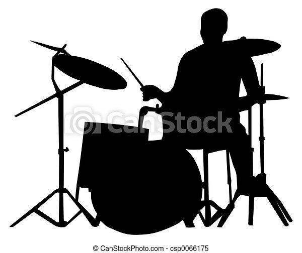 Drummer silhouette - csp0066175