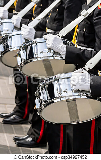 drummers of military band on parade - csp34927452