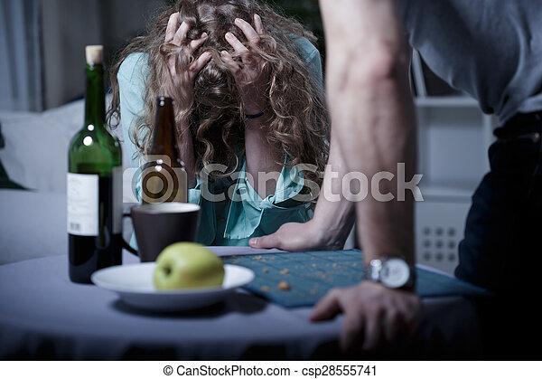 Drunk aggressive husband - csp28555741