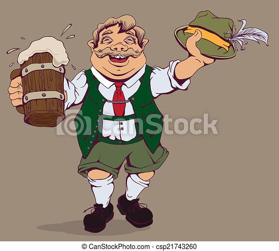 Drunk fat German with beer - csp21743260