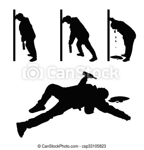 drunk man vector silhouette - csp33105823