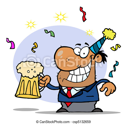 Drunk New Years Party Man  - csp5132659