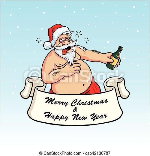 Drunk santa claus drinking booze christmas greeting card vector on drunk santa claus drinking booze christmas greeting card vector on blue background m4hsunfo