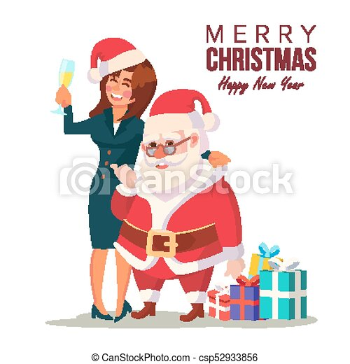 drunk woman and funny santa claus vector corporate christmas party at restaurant or office meet up - Drunk Christmas