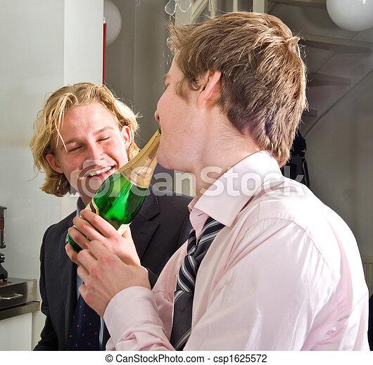 drunks drinking champagne - csp1625572