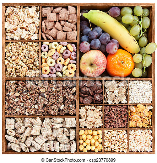 Dry and fresh fruit in wood box - csp23770899
