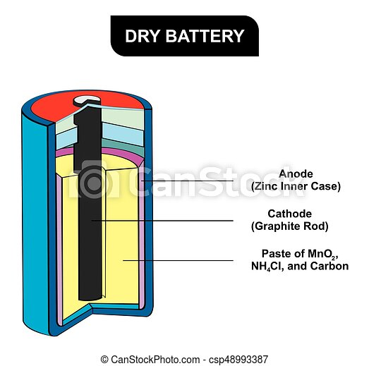 Dry battery diagram including all parts for science education.