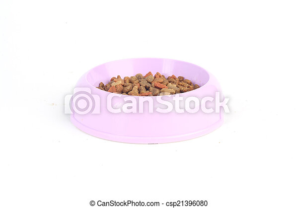 Dry cat food in a purple pink bowl isolated on white background - csp21396080