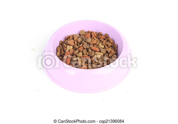 Dry cat food in a purple pink bowl isolated on white background - csp21396084