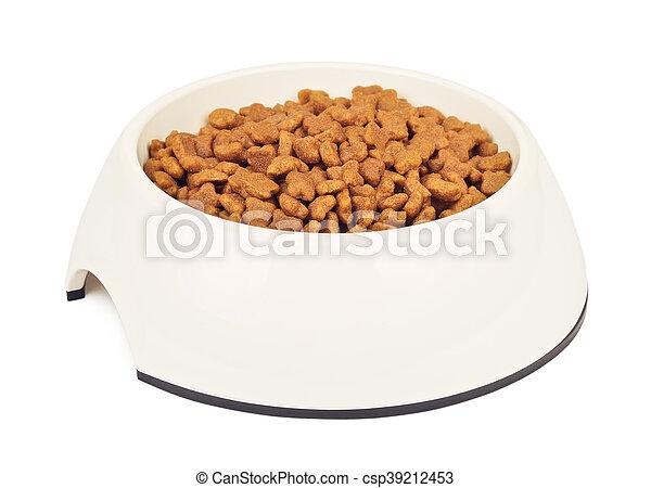 Dry Cat Food In White Bowl - csp39212453