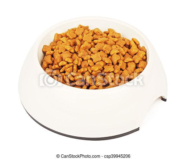 Dry Cat Food In White Bowl - csp39945206