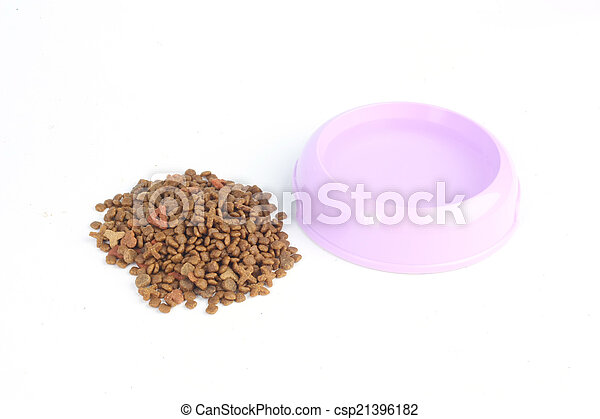 Dry cat food out of a purple pink bowl with water isolated on white background - csp21396182
