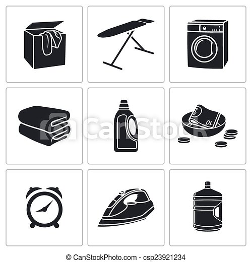 Dry Cleaning Laundry Vector Icons Set - csp23921234