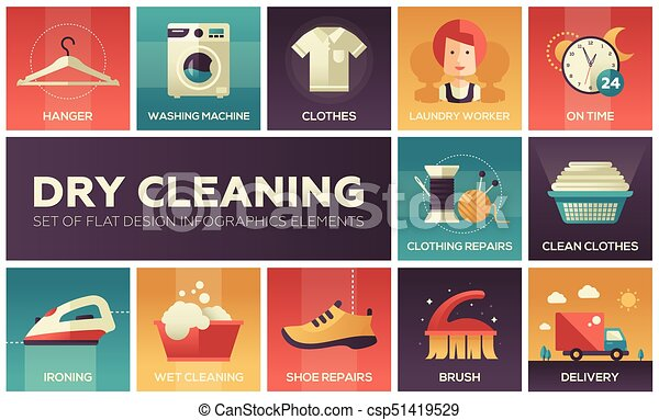Dry cleaning - set of flat design infographics elements - csp51419529