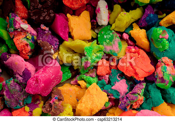 Dry colorful play dough in pieces - csp63213214