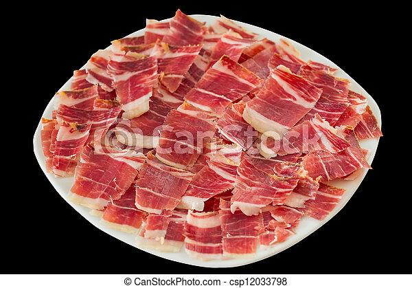 dry-cured ham slices - csp12033798
