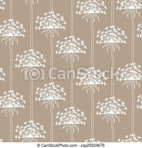 Dry dandelion flowers - abstract seamless pattern - csp25934676