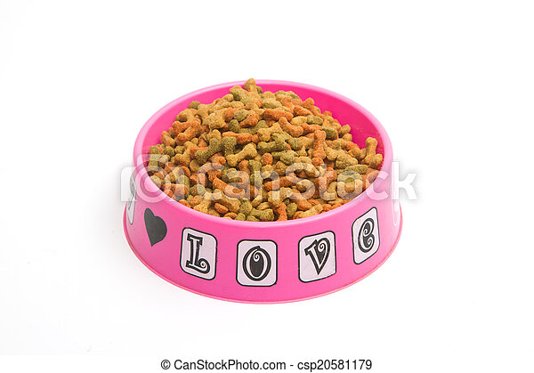 Dry dog food in bowl - csp20581179
